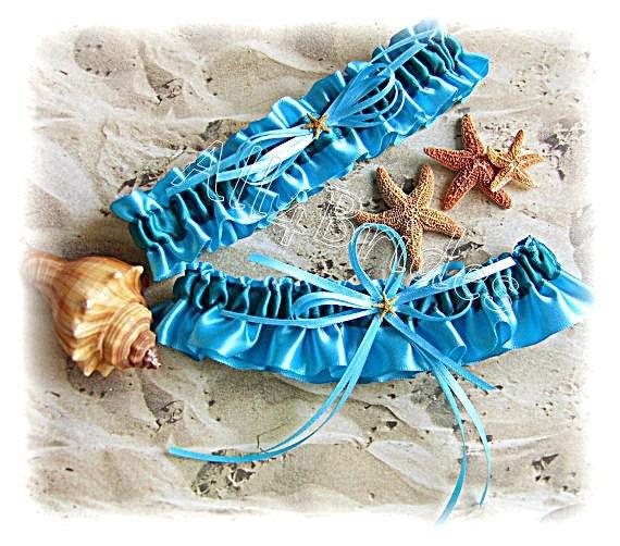 Beach Wedding Garter: Items Similar To Beach Wedding Starfish Bridal Garters