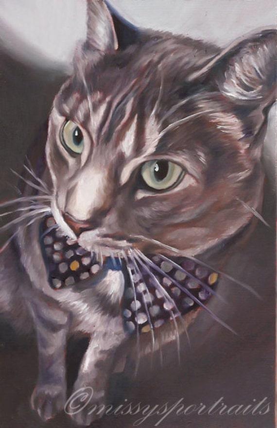 CUSTOM CAT PORTRAIT - Pet Portrait - Miniature Oil Portrait Painting