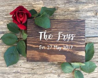 Wood Wedding Ring Box | Last Name