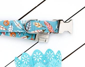 Spring Feathers Dog Collar - Teal - Unisex Dog Collar - Martingale Chain Collar - Dog Collar - Check Chain Collar - Metal buckle