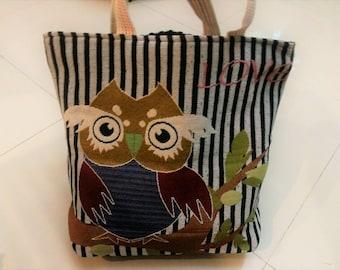 Love Owl Handbag, Canvas Tote Bag, Shoulder Bag, Beach Bag, Diaper Bag, Extra Large