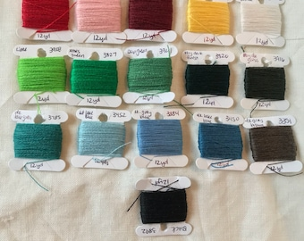 All 17 Colors of Crewel Wool Embroidery Thread--12 yds each
