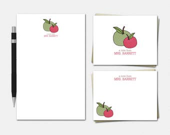 Apple Stationery - Personalized Teacher Stationery Set - Teacher Gifts - Free US Shipping - Teacher Stationary - Apple Stationery Set