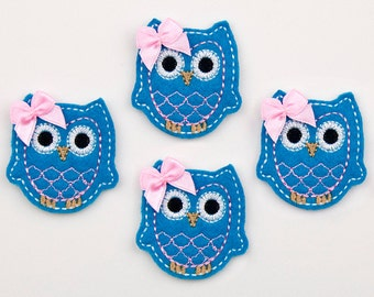 OWL - Embroidered Felt Embellishments / Appliques - Turquoise & Pink  (Qnty of 4) SCF6650
