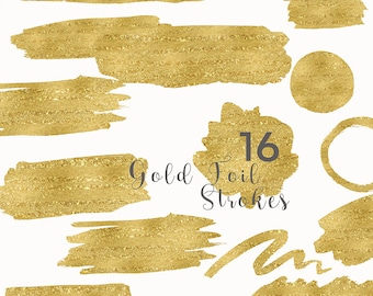 Gold Foil Strokes Clip Art, Gold Foil Splotches Overlay, Holiday Watercolor Clip Art, Gold Foil Strokes Graphics, Blog header graphics