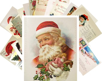 Postcards Set 24pcs * Vintage Christmas Greeting Cards Art Deco Santa CF7002