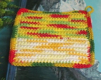 UHP 034 Hand crochet dbl thick cotton upcycle hot pad 7.5 by 7.5