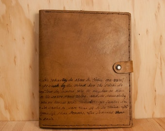 Leather iPad  or Kindle Case - Personalized Smokey Pattern in Antique Brown