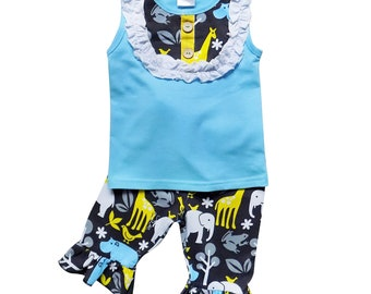 Animal Zoo Safari - Ruffle Bottom Tank Top Summer Fun Outfit with Flare Capri Pants by So Sydney for Toddler, Girls, 2T 3T 4T 5 6 7 8