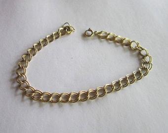 Vintage 14 K Gold Filled Double Link Chain Charm Bracelet