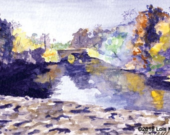 Painting, Mystic River in Fall