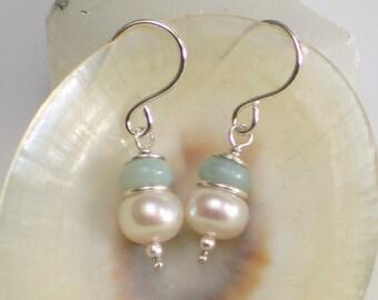 Pearl and Amazonite Drop Earrings, White Freshwater Pearl and Natural Aqua Stone Earrings, Pastel Gemstone Earrings, Gift for Her, June