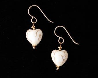 Magnesite Heart Earrings