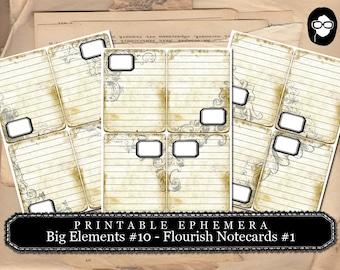 Art Journal Card - Big Elements #10 Flourish Notecards #1  - 3 Page Instant Download - journaling cards, journal cards, digital journal card