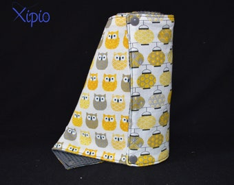 Towel / wash towels Japanese lamps and yellow OWL / grey honeycomb - zero waste