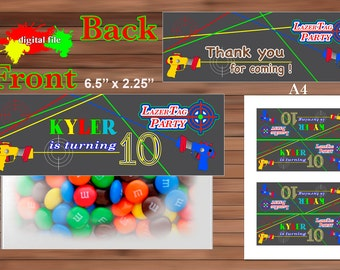 Lazer Tag Favor Bag Toppers, Lazer Tag Party favor, Personalized Favor Bag Toppers, PDF