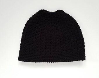 Child Pony-tail Toques - Black | Beanie | Handmade toque | Winter | Crochet | Hat
