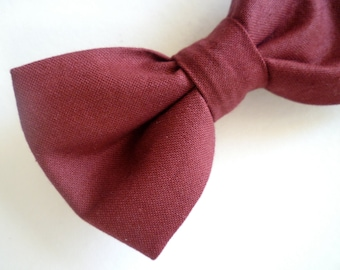 Burgandy Bow Tie - clip on, pre-tied with strap or self tying - wedding or holiday attire
