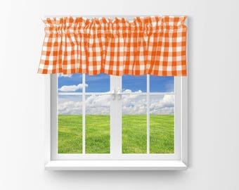 Cotton Valance Gingham Checker Orange / Window Decor / Window Treatments