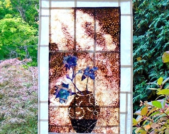 Sunlit Vase & Flowers ~ Bleached and Distressed Stained Glass Look Fabric Pojagi Window Treatment /dorm / cafe curtain / watercolor curtain