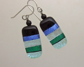 Blue and Green Ribbons Dichroic Earrings, Handmade Fused Glass Jewelry