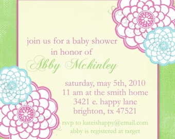 Baby Shower Invitation Invitation -- Spring Flowers