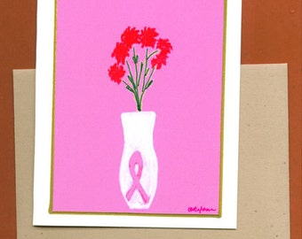 Breast Cancer Awareness Note Card - Bouquet Original Art Note Card Blank Greeting Card Well Wishes Get Well Think Pink