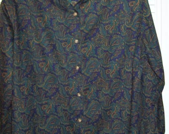 Shirt Medium, 12 - 14  Paisley Long Sleeved Deep Green Cotton Shirt.  Dazzling Smart Vintage Find.
