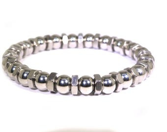 8mm Stainless Steel Beaded Bracelet with Stainless Steel Machine Nuts - Great Bracelet for the Working Man
