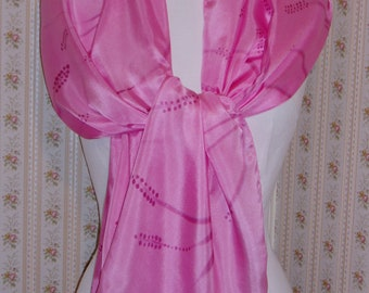 """Scarf shawl pink silk scarf hand painted """"Pink Muscari"""""""