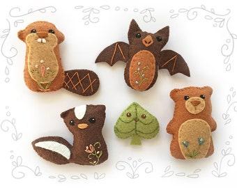 DIY Mini Felt Woodland Creatures plush Set 4 PDF sewing pattern felt animal patterns ornaments