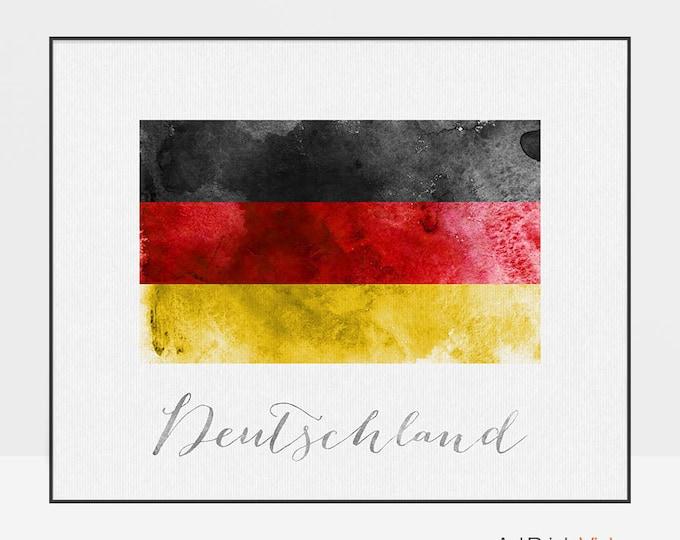 Deutschland art poster, Germany flag print, watercolor, Wall art, watercolor flag, typography art, office decor, Home Decor, ArtPrintsVicky