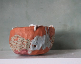 Hand made ceramic planter inside - suspension Terra cotta - red pot - hanging ceramic - pot.