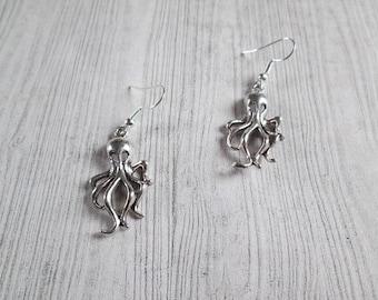 Octopus earrings, Octopi earrings, geek earrings, Ocean earrings, Cthulu earrings, octopus jewelry, sea creature, kraken earrings, Craken