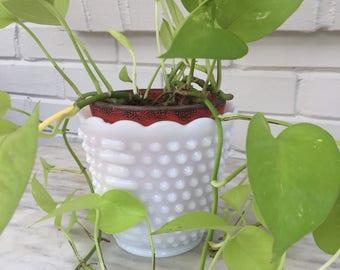 vintage hobnail white milk glass planter flower pot Jardiniere utensil holder, shabby chic, bridal baby shower decor, 1950s
