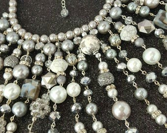 Silver and Gray Beaded Bib Statement Necklace Prom Fashion Jewelery Accessory