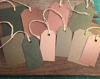 Tags Cardstock Gift Tags Journal Tuck Tags Paper Tags Paper Ephemera Vintage Paper Journal Tags Planner Tags Mixed Media Brown and Green Tag