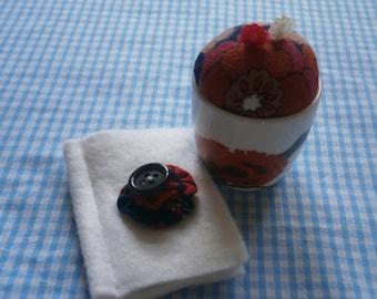 Vintage Wedgwood egg cup repurposed into a pincushion with matching needlecase