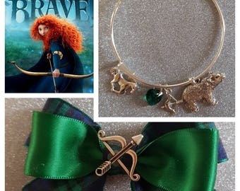 Disney pixars Brave Princess Merida inspired hair bow and bracelet bundle