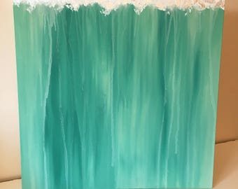 Teal Abstract Acrylic Painting with Silver Leaf