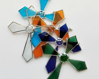 Easter Decor Cross in Stained Glass various colors available