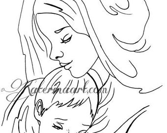 Mother and Child DIGITAL STAMP Instant Download Coloring Page