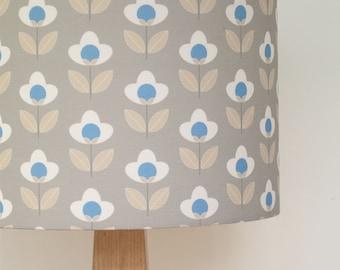 Tulip print drum lampshade - Grey