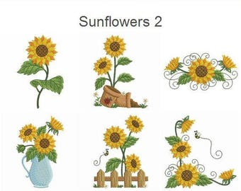 Sunflowers 2 Machine Embroidery Designs Instant Download 4x4 Hoop 12 APE2494
