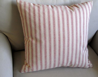 COTTAGE CASUAL Organic cotton in red stripes pillow cover 16-17-18-19-20-21-22
