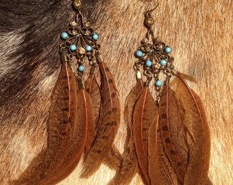 Crystal and pheasant feather earrings