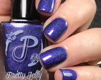 Indigo Blue Nail Polish, Holographic Nail Lacquer, Shimmer, Indie Nail Polish, Handmade Custom Color, Gift For Her, Vegan, ALL THAT JAZZ