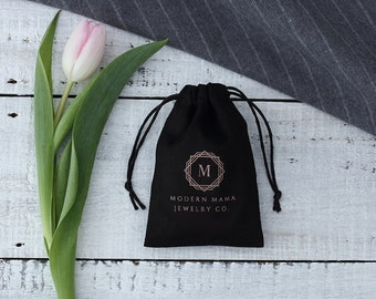 50 black custom drawstring bags personalized logo printed pouches jewelry packaging bags flannel  chic wedding favor bags black bags