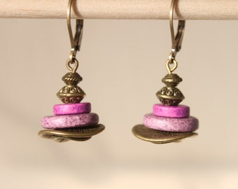 Purple Earrings Ceramic Earrings Jewelry Dangle Drop Earrings Brass Earrings Boho Chic Earrings Boho Jewelry Gift Ideas SMALL EARRINGS
