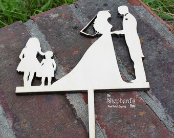 Wedding Cake Topper - Personalized for you Wooden cake Topper -Weddings-Birthdays-Anniversarys- Family name-Unpainted or Painted